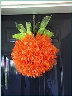 DIY Mesh Pumpkin Wreath - Passionate Penny Pincher