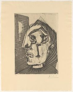 Pablo Picasso - Weeping woman in front of a wall.