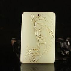 Vintage Chinese Hetian Jade Pendant - General Guangong 中國清代 和田玉老玉關公掛件