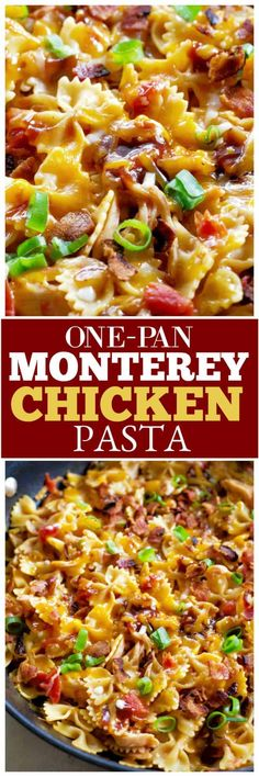 One-Pan Monterey Chicken Pasta is a quick weeknight dinner that is so tasty! Chi… One-Pan Monterey Chicken Pasta is a quick weeknight dinner that is so tasty! Chicken, pasta, BBQ sauce, cheese, and bacon. Pasta Dishes, Food Dishes, Main Dishes, Pasta Food, Casserole Dishes, Casserole Recipes, Skillet Recipes, Skillet Meals, Italian Recipes