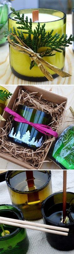 Recycle old wine bottles into handmade candles for Christmas. Includes details on how to cut the bottles and how to fill them with scented wax.