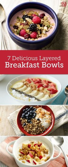 Make breakfast more fun with these layered bowls that are super nutritious, or mix and match your own with yogurt, cereal, granola, fresh fruit, and any other yummy toppings.