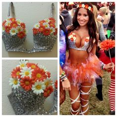 Orange and White Daisy Deep Plunge Rave Bra and by PasseDesigns, $100.00