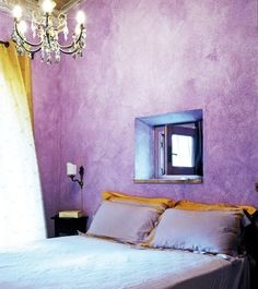 Bedroom. Purple walls with gold accents. Stunning Country House in Tuscany, country house design Italy