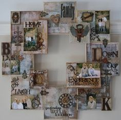 Family themed canvas 'wreath' - Love it!  Its like scrapbooking and painting all rolled into one!