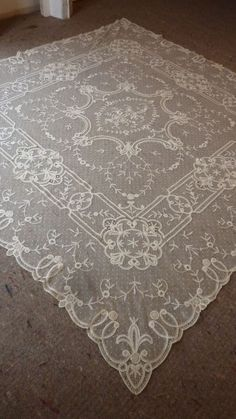 Delicious antique French hand embellished tulle lace bed / table cover