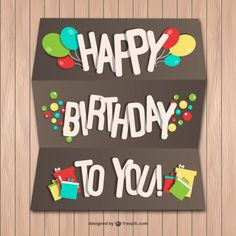 Happy Birthday Paper Card on Wood Wall Free Vector Happy Birthday Tag, Happy Birthday Celebration, Birthday Tags, Happy Birthday Quotes, Happy Birthday Images, Birthday Messages, Birthday Pictures, Handmade Birthday Cards, Birthday Greetings