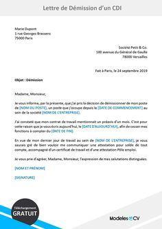 Modele De Lettre De Demission Cdi Gratuit A Telecharger Lettre De Demission Modele De Lettre De Demission Modeles De Lettres