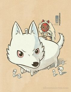 Chibi Ghibli Print  San Moro Kodama Princess by idrawrainbows