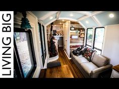 This family is hitting the road and doing it in style! They have converted a simple school bus into an unbelievably comfortable home. The entire bus is desig. School Bus Conversion, Camper Conversion, Tiny House Hotel, Converted School Bus, Short Bus, Earthship, Off The Grid, Van Life, The Incredibles