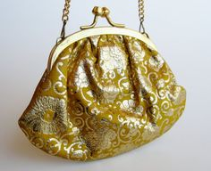 Vintage 50s Yellow & Gold Gilded Florentine Italian Leather Miniature Change Purse Florence Italy