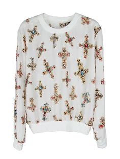 Crosses Patterned White Top