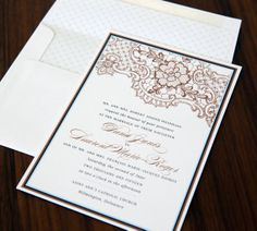 Lovely in Lace letterpress wedding invitation from Abbey Malcolm Press. Customize yours with Paper Passionista.
