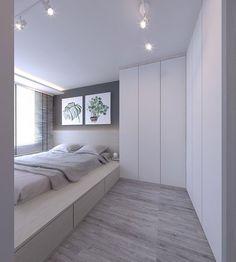Small Bedroom Interior Design With Wardrobe Ideas Small Bedroom Interior, Small Room Bedroom, Trendy Bedroom, Home Decor Bedroom, Home Interior Design, Condo Bedroom, Platform Bedroom, Bed On Platform, Small Condo