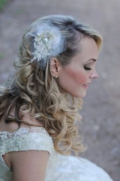 Custom crafted headpiece-pearls,lace, tulle to match dress