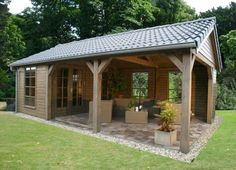 patio with small storage shed attached