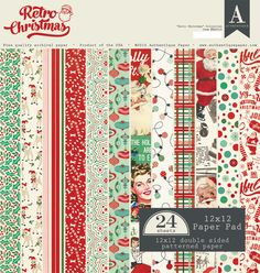 Retro Christmas 12 X 12 Paper Pad Authentique Christmas Scrapbook Paper 12x12 Scrapbook Paper Retro Christmas
