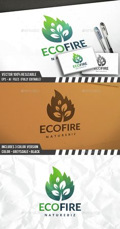 Eco Fire - Logo Design Template Vector #logotype Download it here: http://graphicriver.net/item/eco-fire-logo/14539747?s_rank=141?ref=nexion