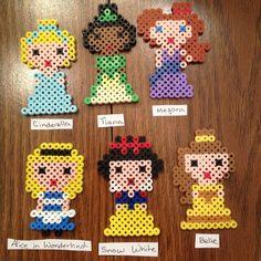 Cinderella, Tiana, Megara, Alice, Snow White and Belle perler beads by perlerobsessed