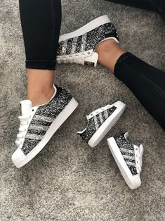 Cuatom Sneakers for Mom & Baby by Muffin Mom And Baby, Baby Girls, Adidas Superstar, Silver Glitter, Adidas Sneakers, Muffin, Collection, Shoes, Fashion