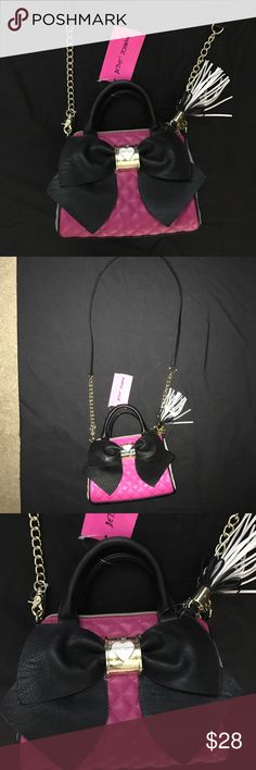 "Betsey Johnson small Bow Purse NWT Betsey Johnson Purse, BRAND NEW WITH TAG, Hot Pink quilted pattern with Grey sides and Black Bow, 6"" x 4"" x 4"", small handles with long detachable strap Betsey Johnson Bags Mini Bags"