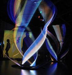 "The light sculpture ""Persistence of Vision"" by Paul Friedlander, Light Exhibition, Phaeno Science Centre, Wolfsburg, Germany, 2012   http://www.paulfriedlander.com/"
