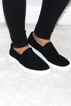 Classic Black Slip-On Faux suede shoes with a white platform sole. Super cute and goes with any casual outfit. Casual Slip On Shoes, Slip On Sneakers, Steve Madden Loafers, Casual Skirt Outfits, Casual Clothes, White High Heels, Vans Outfit, Buy Shoes Online, Ladies Dress Design