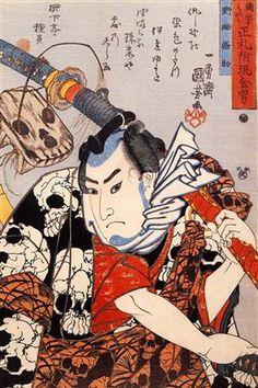 Nozarashi Gosuke carrying a long sword - Utagawa Kuniyoshi