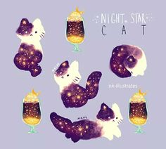 sparkly nights with champagne and cats