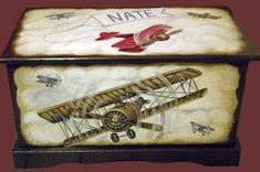 Vintage Airplane Toy Chest Custom Designed With An Espresso Background, Kids…