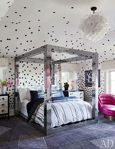 Teenage Girls Room: Mirrored Bed Black and White Confetti Ceiling and Wallpaper!