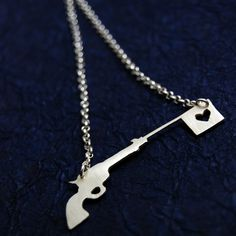 Love is a Gun, Sterling Silver Necklace by Markhed - Made To Order -