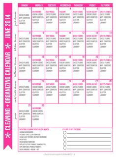 Hello, June! Print out this FREEBIE, pop it on your fridge and get on top of the cleaning once and for all. Cleaning + Organizing Calendar for June 2014 via Clean Mama
