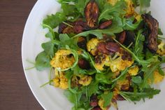 Roasted Vegetable Arugula Salad with Spicy Almonds