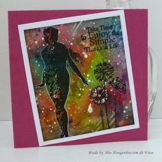 Stamped card, coloured with Brusho, made by Alie Hoogenboezem-de Vries