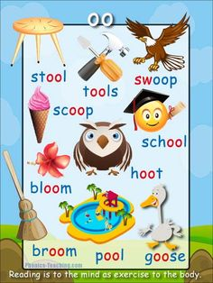 oo words Phonics Poster - FREE & PRINTABLE - Auditory Discrimination, Exploring Letter Sounds, Literacy Groups, Phonics Word Wall Poster or a Class Book Phonics Chart, Phonics Blends, Phonics Rules, Phonics Words, Phonics Worksheets, School Worksheets, Phonics Activities, Jolly Phonics, Language Activities