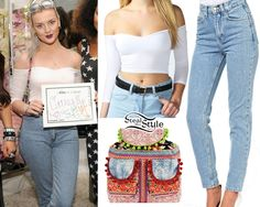 Perrie Edwards: Crop Top, High Waist Jeans | Steal Her Style