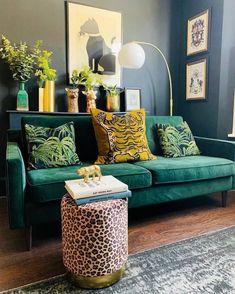 Dark Interiors, Colorful Interiors, Green Velvet Sofa, Printed Sofa, Mug Design, Relax, Husband Birthday, Decoration, Bold Colors