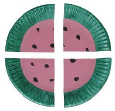 watermelon paper plate craft - can also be used to explain halves and quarters