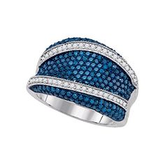 1 5/8 Total Carat Weight BLUE DIAMOND FASHION BAND. 1 5/8 Total Carat Weight BLUE DIAMOND FASHION BAND. 30 Days Money Back Gaurantee. Comes With Beautiful Display Box. Colored Diamonds are treated.