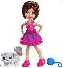 Polly Pocket Lila Doll & Puppy by Mattel. $9.99. For Ages 4+. Size: 3.5 inch figures. Made by Mattel in 2011. Polly doll and her friends love their animals and can show them how much with bendable arms to hug and hold their favorite pets with this Polly Pocket Doll and Pet Assortment! Includes 1 doll(approx 4 inches), 1 pet and 1 accessory (e.g. food, toy, etc.).  Ages 4 and up.