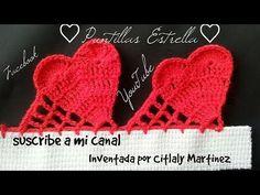 Orilla de corazones - Bico de crochê corações - YouTube