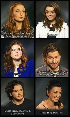 The cast talk about who are their favorite character(s). Daenerys an angry crazy woman haha.