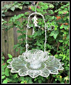 Vintage+Glassware+Bird+Feeder+Garden+by+GardenWhimsiesByMary,+$30.00