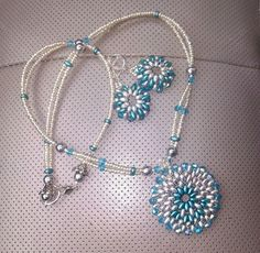 Blue and Silver superduo weaved necklace and earring set - by Jaymo Jewels