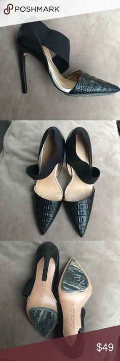 Lamb high heels NWT black leather heel with elastic strap and crocodile print on black leather toe Lamb Shoes Heels