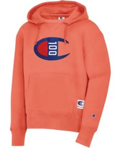 Champion Men's Century Logo Hoodie - Groovy Papaya S Champion Wear, Champion Brand, Mens Sweatshirts, Hoodies, Crew Shop, Baby Clothes Shops, Trendy Plus Size, Street Wear, Graphic Sweatshirt