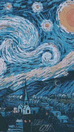 Vincent Van Gogh The Starry Night Wallpaper. Tumblr Wallpaper, Wallpaper Backgrounds, Phone Backgrounds, Summer Backgrounds, Galaxy Wallpaper, Pretty Backgrounds, Heart Wallpaper, Vincent Van Gogh, Van Gogh Wallpaper