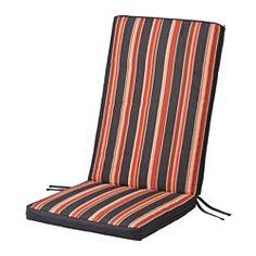 IKEA - EKERÖN, Sidde-/ryghynde, ude, , Du kan variere udtrykket i dit udendørsområde ved at vende puden – mønstret er forskelligt på de 2 sider.Betrækket er nemt at holde rent og frisk, fordi du kan tage det af og vaske det i vaskemaskinen.Bånd og en strop holder sidde-/ryghynden sikkert på plads på stolen.