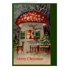 Gnome and Mushroom Christmas Greeting Card #cards #christmascard #holiday